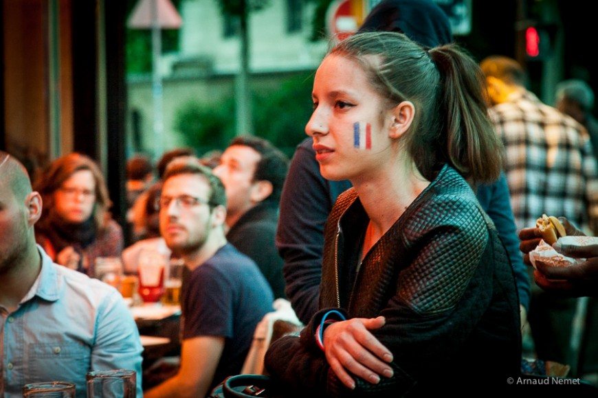 Coupe du monde de football 2014 au bar Le Lakanal, à Paris, en 2014